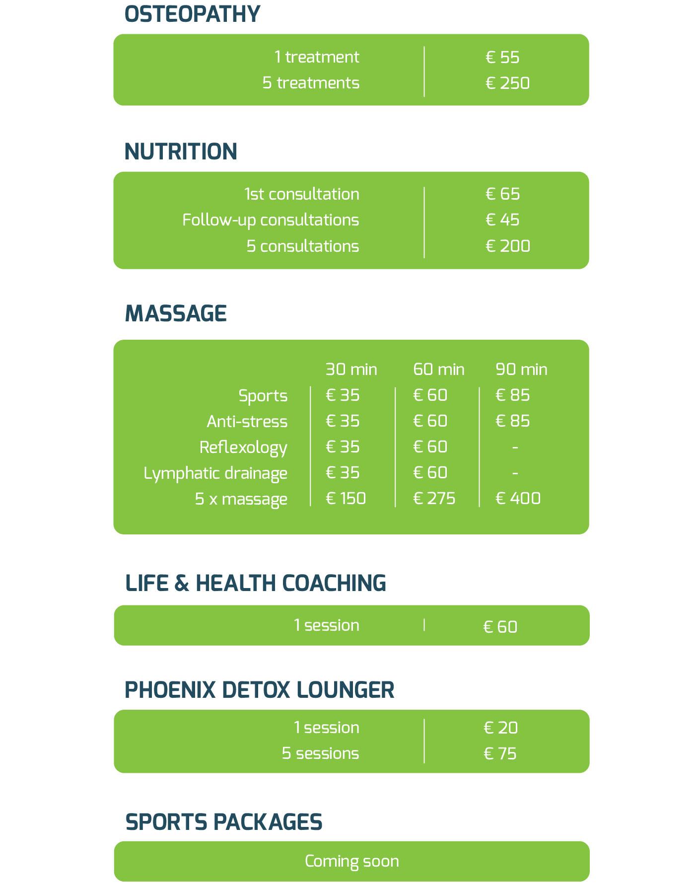 OsteoPalma Rates